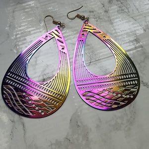Teardrop lightweight rainbow ombre slick earrings